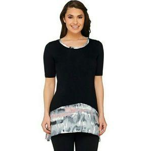 LOGO Lori Goldstein Knit Top Skirted Black Tie Dye